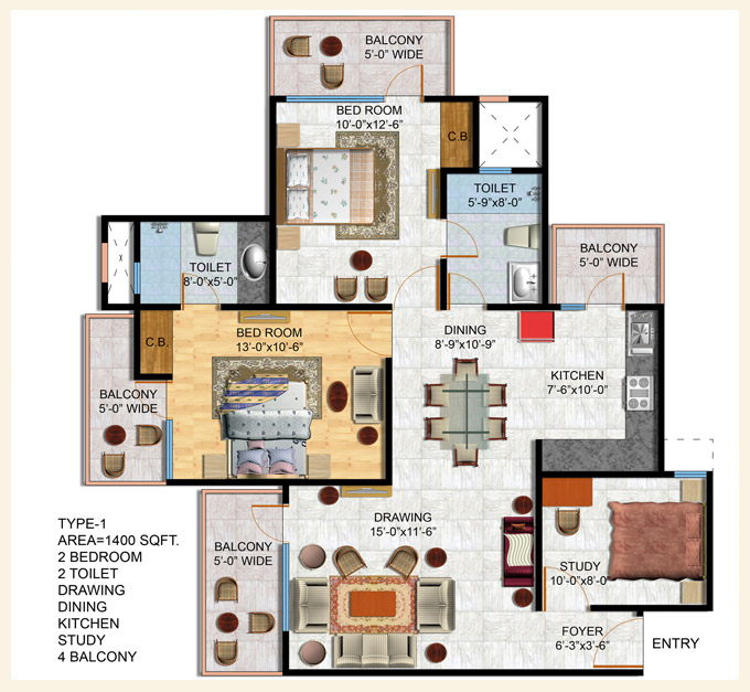 Area 1400 Sq  Ft   2 Bedroom  2 Toilet  Drawing  Dining
